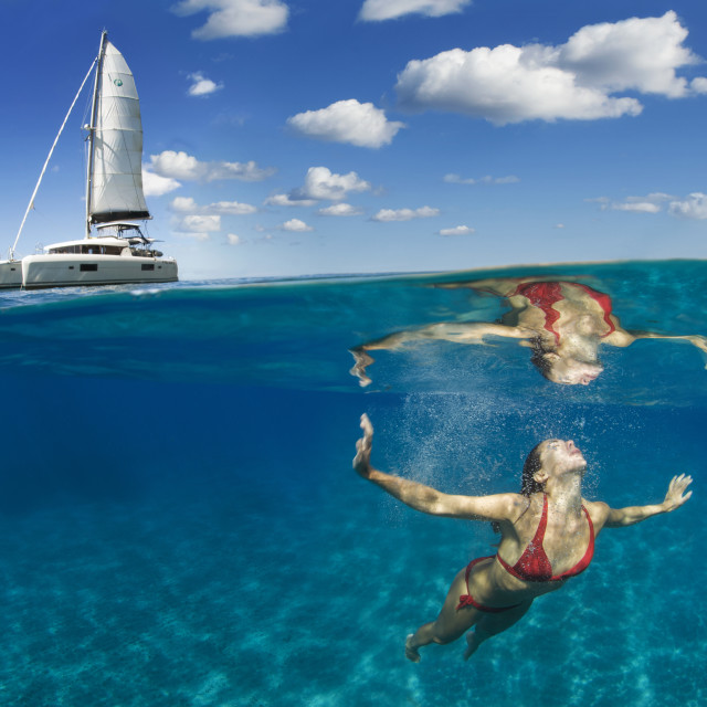 """Swimming in the mediterranean sea, Liapri, Aeolian Islands, Sicily, Italy"" stock image"