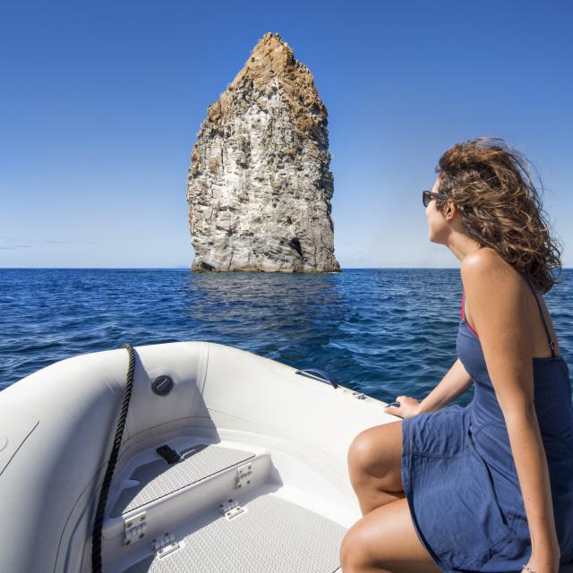 """Sailing in the mediterranean sea Lipari, Aeolian Islands, Sicily, Italy"" stock image"