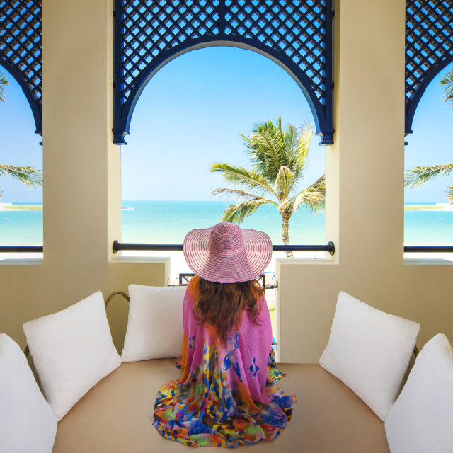 """Enjoying summer vacation, Caribbean"" stock image"