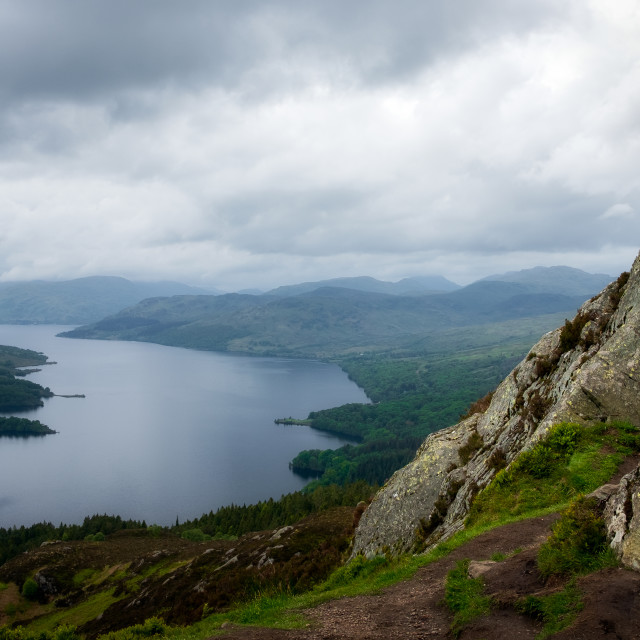 """Loch Katrine from the Summit of Ben A'an, Highands, Scotland, United Kingdom"" stock image"