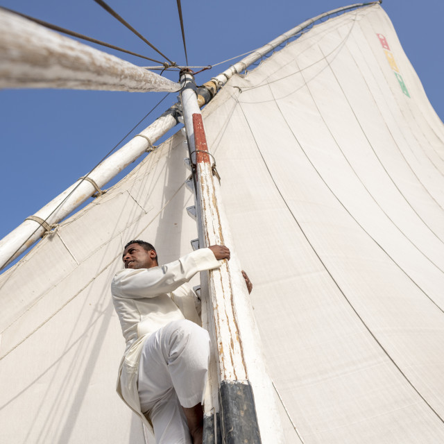 """An Egyptian man climbs the mast of a traditional Felucca sailboat with wooden..."" stock image"