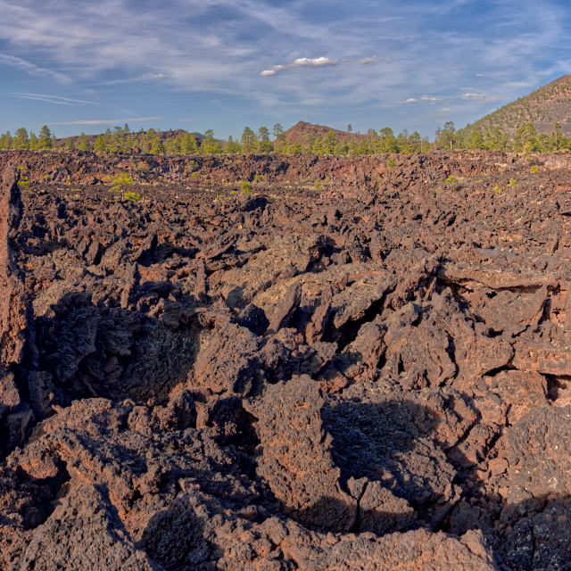 """""""Panorama view of O'Leary Peak on the left and Sunset Crater on the right from..."""" stock image"""