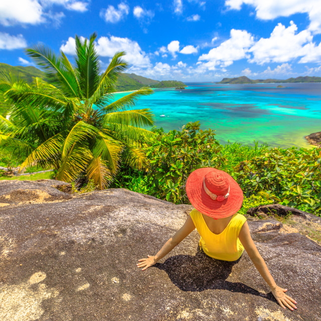 """""""Aerial view panorama of Praslin, Seychelles. Lifestyle woman looking Anse..."""" stock image"""