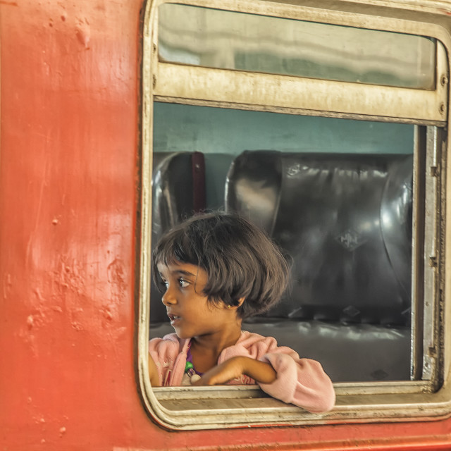 """Girl in train in Sri Lanka"" stock image"