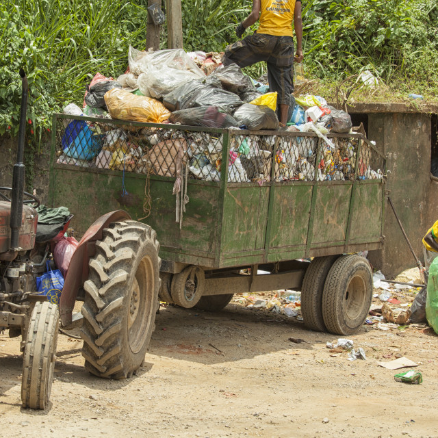 """Collecting waste in Sri Lanka"" stock image"