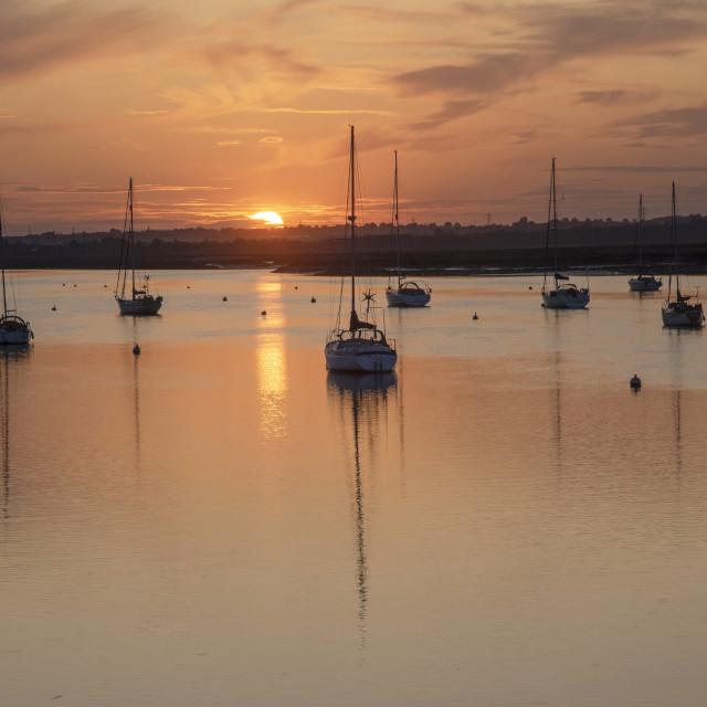 """Sunset at South Fambridge, Essex"" stock image"