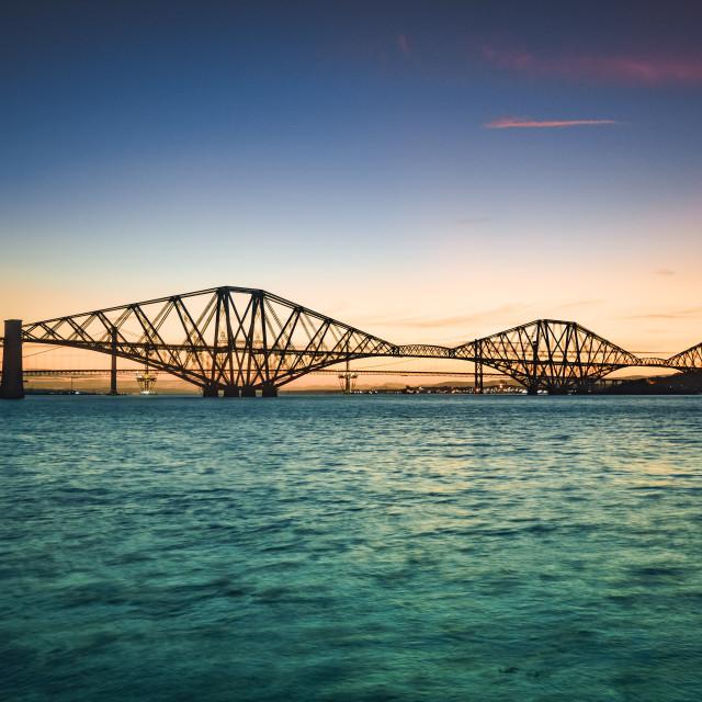 """Forth Bridge sunset"" stock image"
