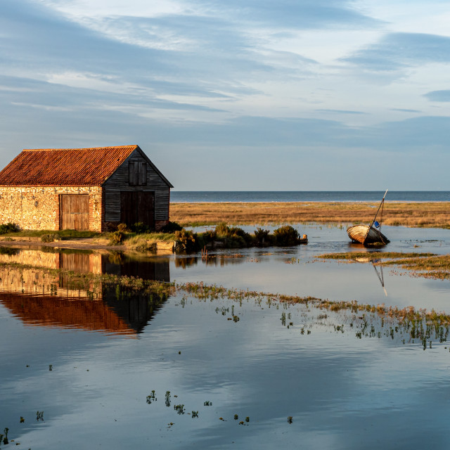 """""""The Coal Shed at Thornham"""" stock image"""