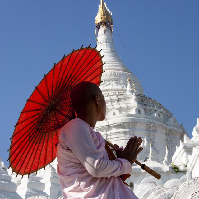 """0686 - Myanmar, Myatheindan Pagoda: praying Buddhist nun"" stock image"