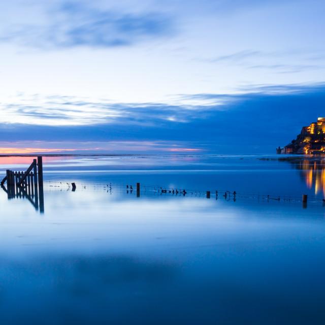 """""""Mont-Saint-Michel blue sunset"""" stock image"""