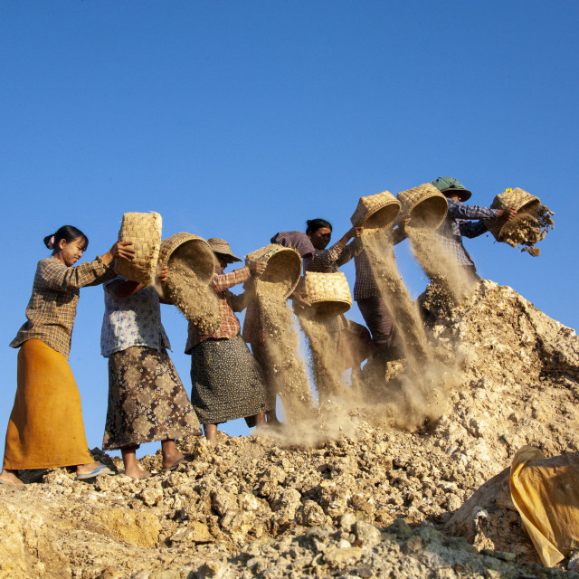 """""""2017 - Myanmar: working and living in the copper mines: empty trash"""" stock image"""