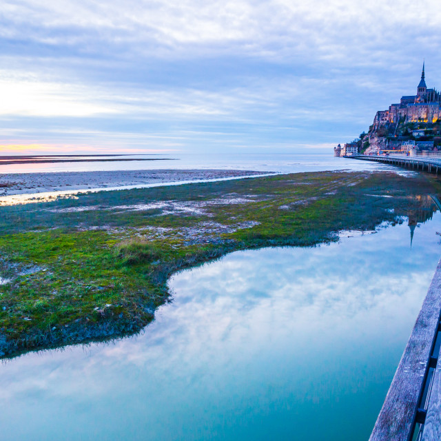 """Mont-Saint-Michel from the bridge"" stock image"