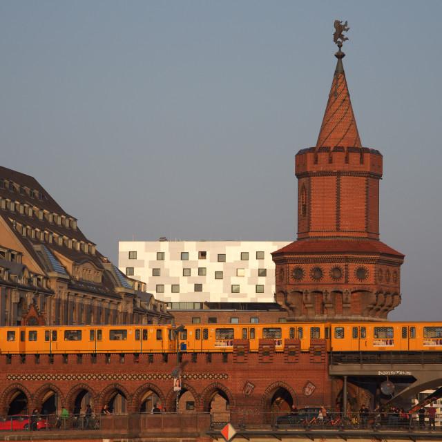 """Berlin UBahn going over Oberbaumbrücke"" stock image"