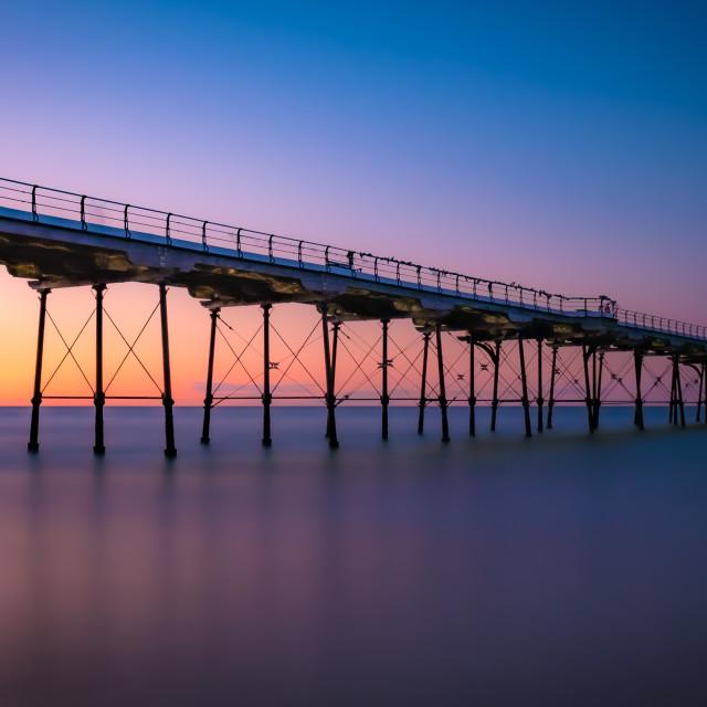 """Saltburn Pier at sunset"" stock image"