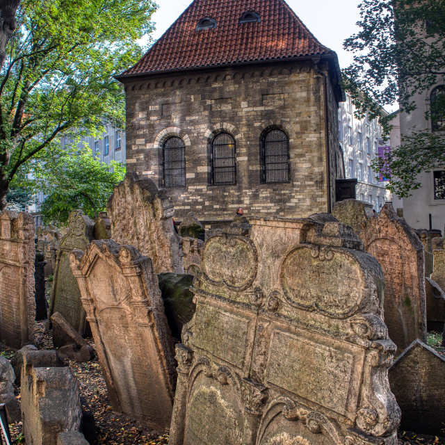 """""""Tombstones on Old Jewish Cemetery in the Jewish Quarter in Prague."""" stock image"""