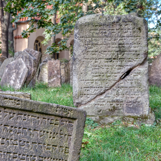 """Tombstones on Old Jewish Cemetery in the Jewish Quarter in Prague."" stock image"