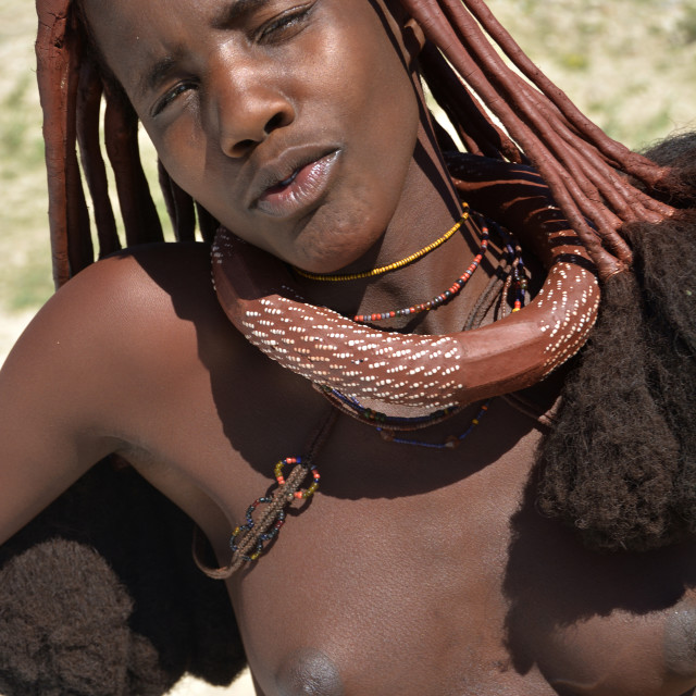 """""""Himba village in northern namibia"""" stock image"""