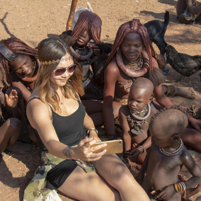 """""""visiting a himba village"""" stock image"""
