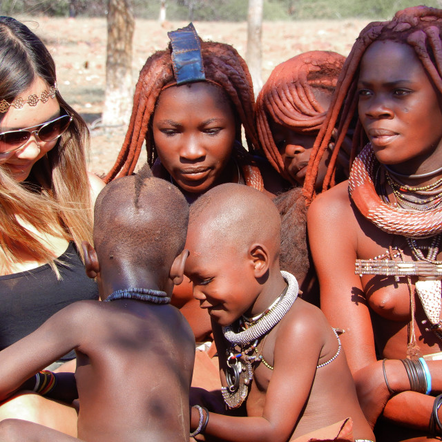 """""""visiting a himba tribal village in namibia"""" stock image"""