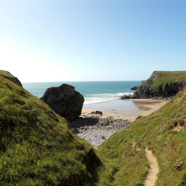 """Bullslaughter Bay in Pembrokeshire"" stock image"