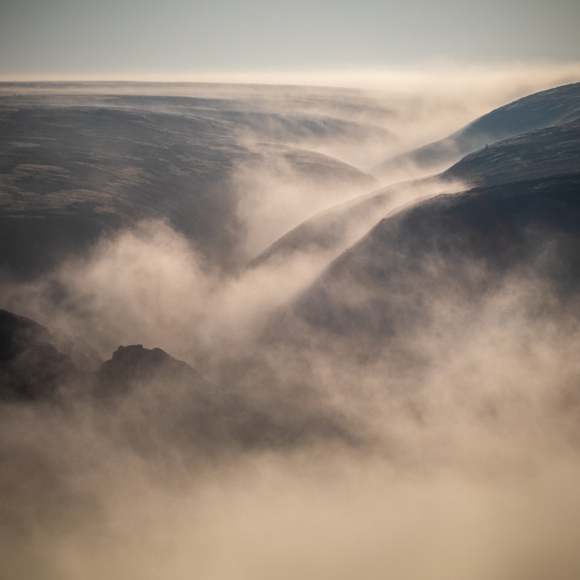 """""""Rimmon Pit Clough in the Mist"""" stock image"""