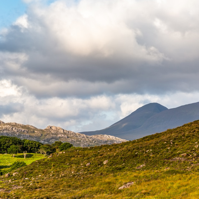 """Mountains at Ardheslaig"" stock image"