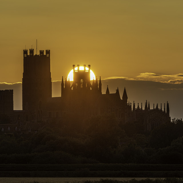 """""""Sunset over Ely, 13th July 2019"""" stock image"""