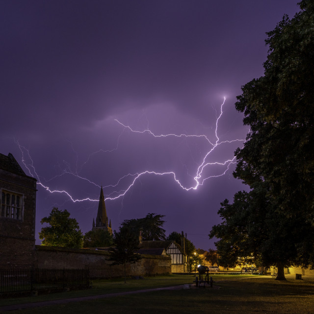 """""""Thunderstorm over St Mary's Church, Ely, 24th July 2019"""" stock image"""