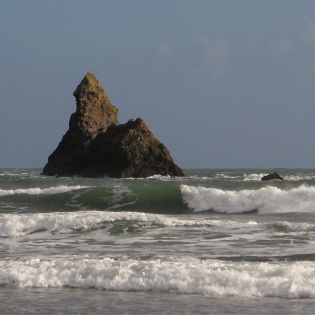 """Church Rock on Pembrokeshire Coast"" stock image"