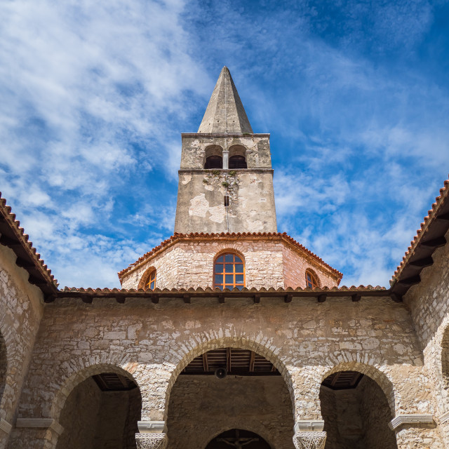 """Tower bell of Euphrasian basilica in Porec, Croatia"" stock image"
