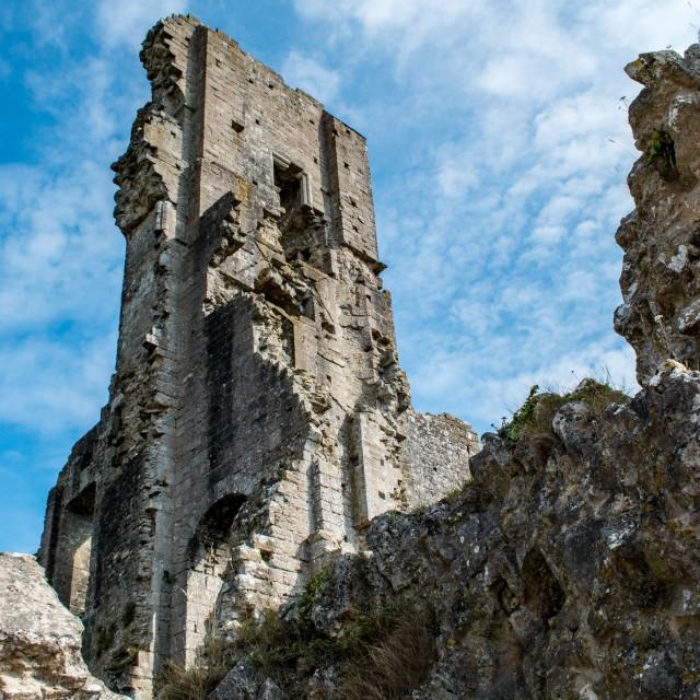 """Ruins of Corfe Castle keep"" stock image"