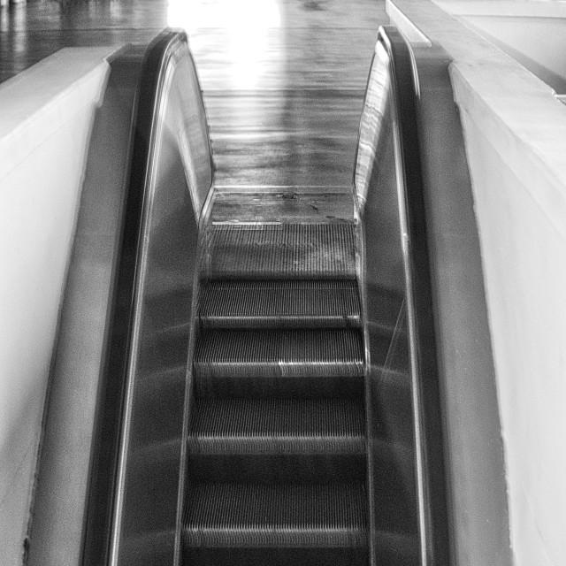 """Escalator in black and white"" stock image"