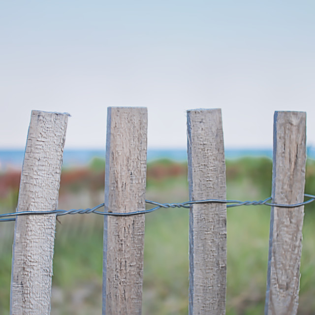 """ocean view fence and meadow"" stock image"
