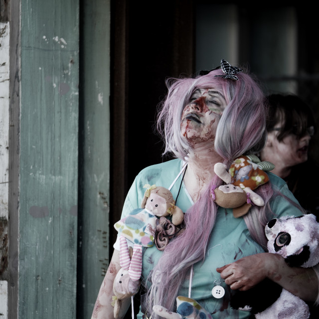 """""""zombie with dolls and purple hair"""" stock image"""