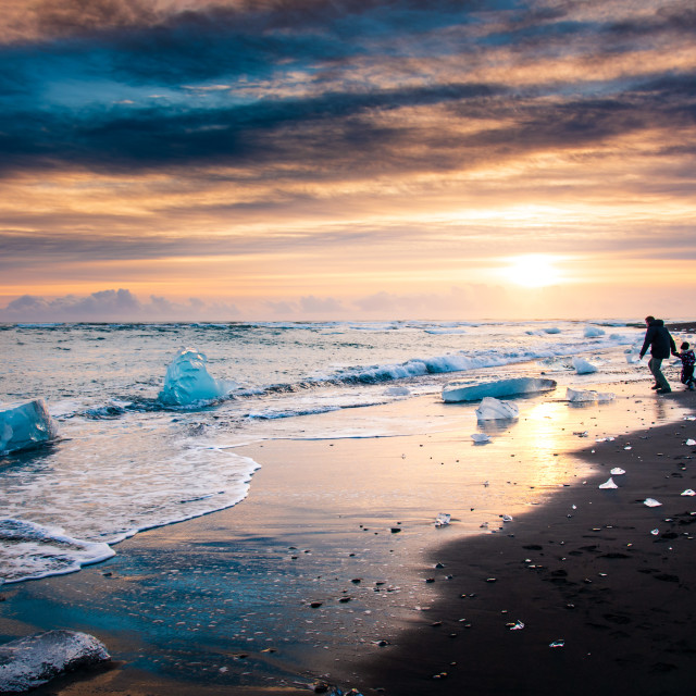 """Beautiful sunset on Diamond beach in Iceland"" stock image"