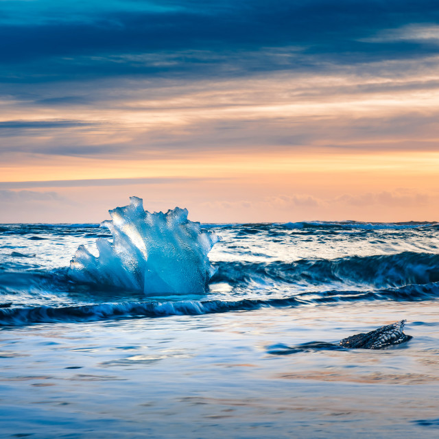 """Diamond beach in Iceland during sunset"" stock image"