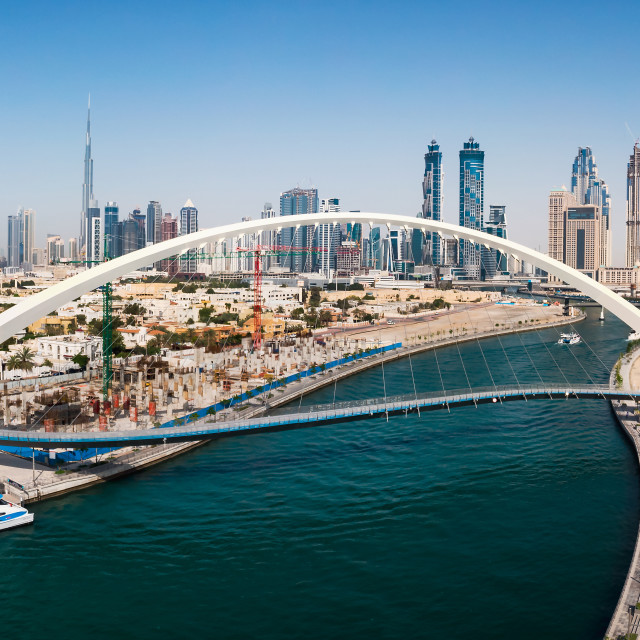 """Aerial view of Dubai from the water canal"" stock image"