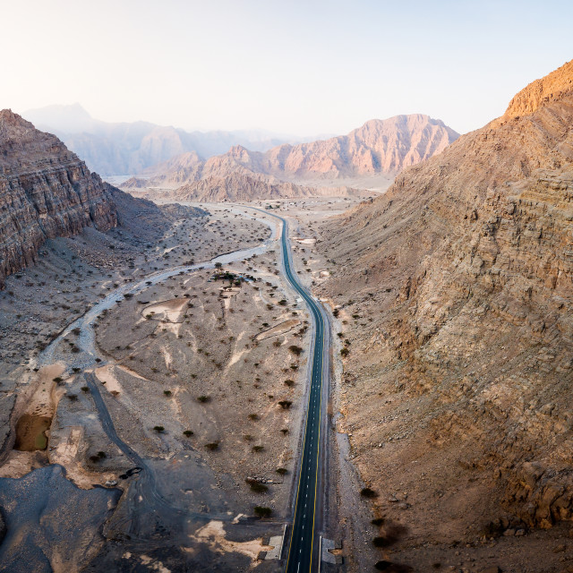 """Scenic desert road in the UAE aerial view"" stock image"