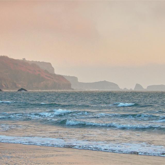 """""""Monkstone Head near Tenby in Pembrokeshire"""" stock image"""