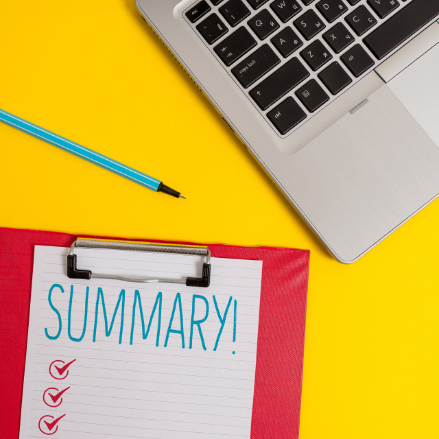 """Writing note showing Summary. Business photo showcasing brief statement or..."" stock image"