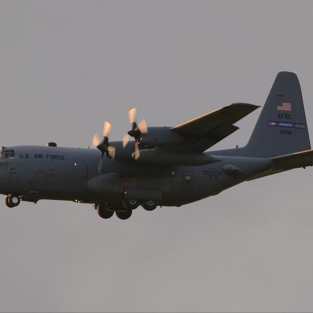"""USAF Lockheed C-130H Hercules 93-1038 iii"" stock image"
