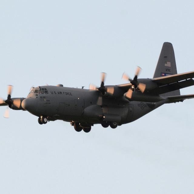 """""""USAF Lockheed C-130H Hercules 93-1039 at BFS"""" stock image"""