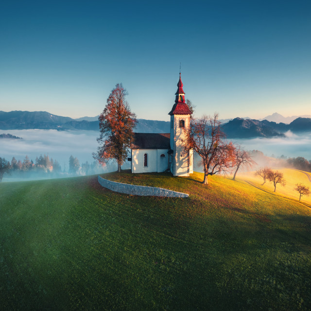 """Aerial view of Saint Tomas church, Slovenia."" stock image"