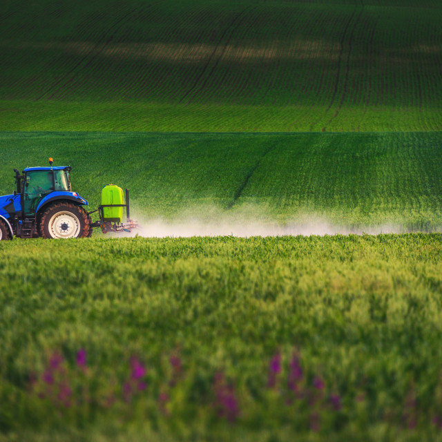 """Farming tractor plowing and spraying on field"" stock image"