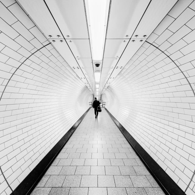 """Tottenham Court Road Tube Station, London, UK in Black And White"" stock image"
