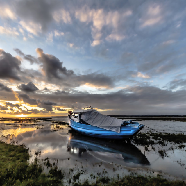 """""""Stormy sunset at Penclawdd, Loughor Estuary"""" stock image"""