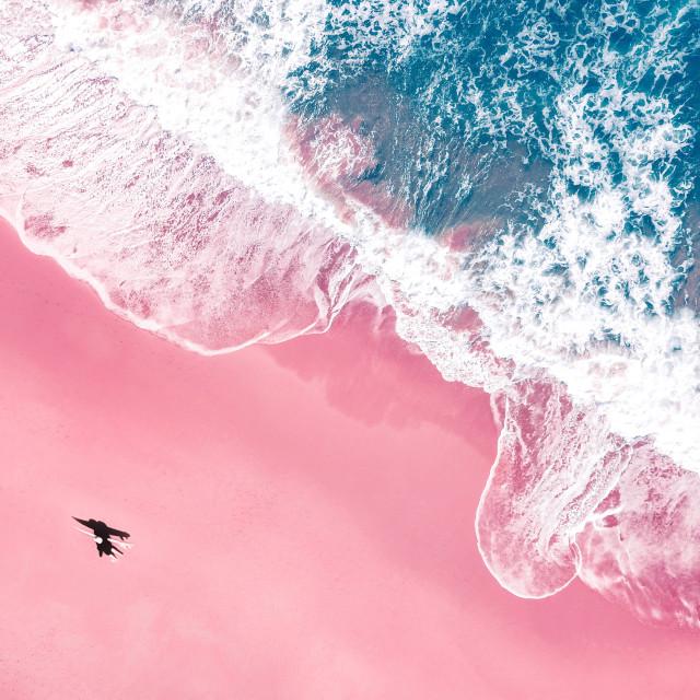 """Aerial Pink Beach"" stock image"