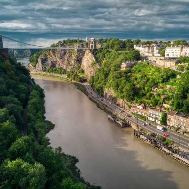 """Bristol Clifton Suspension Bridge - Moody afternoon"" stock image"