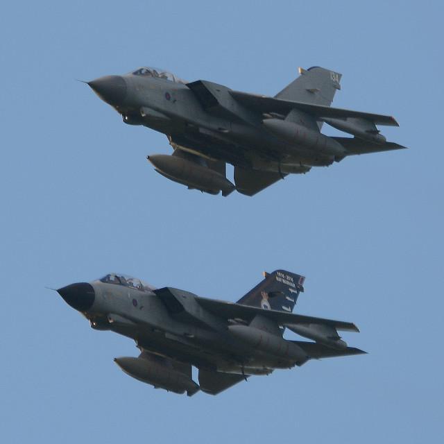 """RAF Panavia Tornado GR4 Pair at BFS Aldergrove"" stock image"
