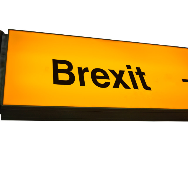 """Orange Airport Brexit Sign"" stock image"